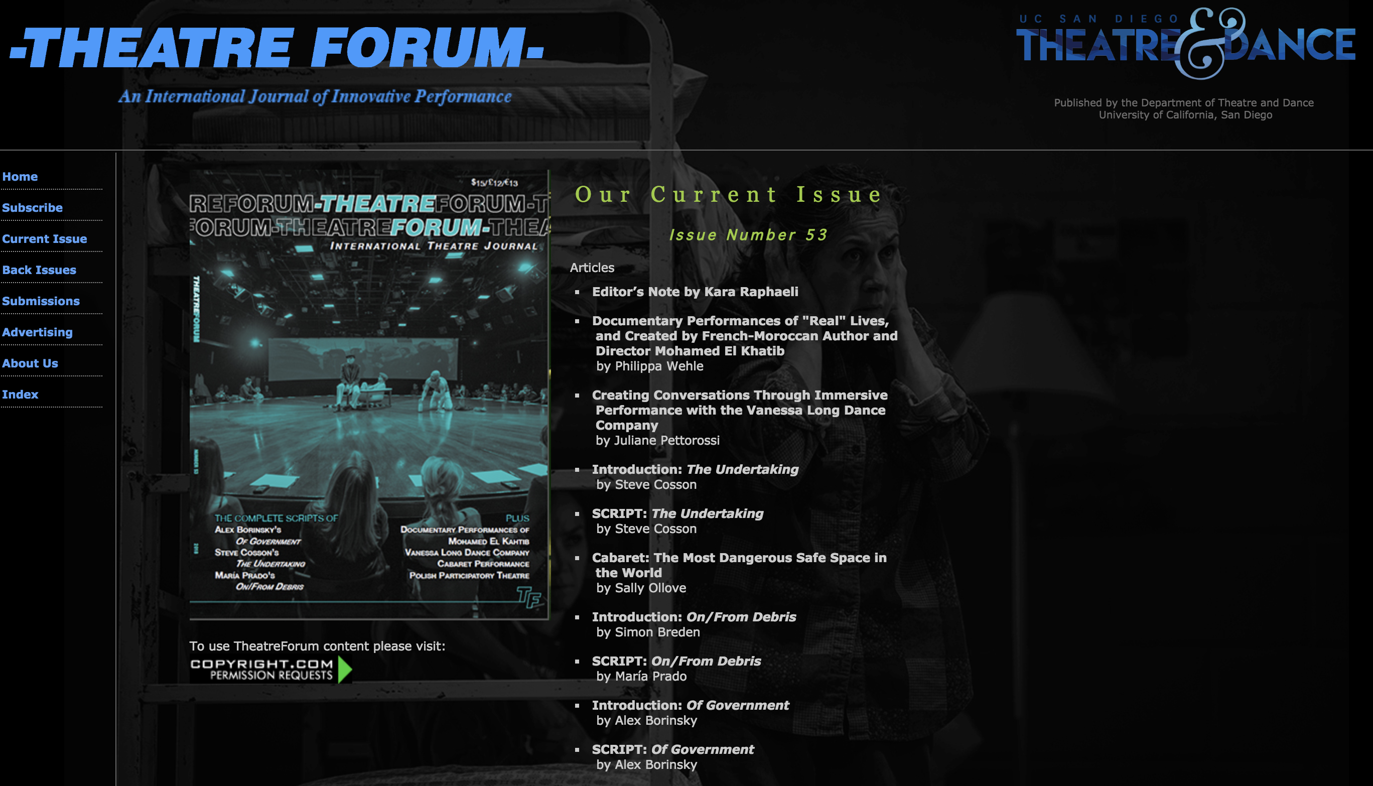 On/From Debris publicada en International Theatre Forum
